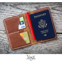Leather Passport Cover / Passport Holder / Passport Wallet / Travel Wallet / Leather Wallet / Leather passport cover personalized Passport cover made of genuine leather. Minimalistic design and maximum ease of use. Passport Wallet, Passport Cover, Leather Notebook, Leather Journal, Travel Crafts, Tandy Leather, Slim Leather Wallet, Leather Bags Handmade, Scrapbook