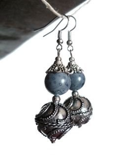 MODIGLIANI - Blue coral and silver plated dangle earrings, Bali style
