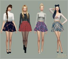 SIMS4 marigold: flare skirt_V2 check_플레어 스커트 체크 버전_여자 의상
