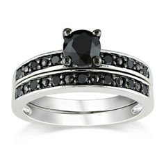 @Overstock.com - Miadora Sterling Silver 1ct TDW Black Diamond Bridal Ring Set - Round-cut black diamond bridal ring setSterling silver jewelryClick here for ring sizing guide    http://www.overstock.com/Jewelry-Watches/Miadora-Sterling-Silver-1ct-TDW-Black-Diamond-Bridal-Ring-Set/5608524/product.html?CID=214117  $180.99