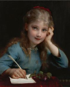 Etienne Adolphe Piot (French Painter) 1850 – 1910  A Young Girl Writing, s.d.  oil on canvas  22 x 18 1/4 in. (55.9 x 46.4 cm.)  private collection