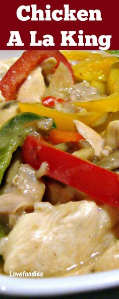 Chicken A La King - A wonderful creamy chicken dinner with flavors out of this world! The chicken is lovely and tender, and together with the peppers and mushrooms in a wonderful cream sauce, this is perfect served with rice or pasta. Really tasty!  via @lovefoodies
