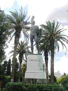 In Greek mythology, Achilles (Greek: Αχιλλέας) was a Greek hero of the Trojan War, the central character and the greatest warrior of Homer's Iliad. [Here: Achilles as guardian of the palace in the gardens of the Achilleion in Corfu]