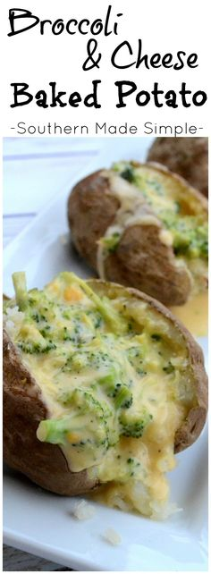 Easy + oh so cheesy Broccoli and Cheese Baked Potatoes! The sauce is ready to go in just a few minutes, and it's the perfect way to take your baked potato over the top!