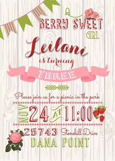 Picnic Party Invitation  Printable Birthday Party Invitation