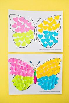 Butterfly paper heart craft art preschool crafts, crafts for Summer Art Projects, Spring Crafts For Kids, Craft Projects For Kids, Art For Kids, Craft Ideas, Garden Projects, Toddler Crafts, Preschool Crafts, Kids Crafts