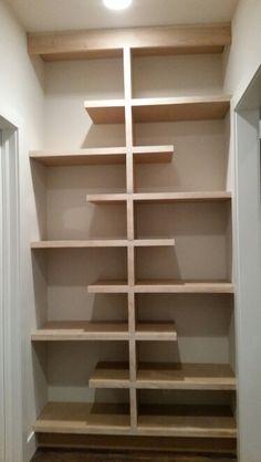 Diy Wood Shelves, Shelving, Diy Furniture, Furniture Design, Pantry Room, Kitchen Pantry Design, Pantry Makeover, Home Organization, Home Projects