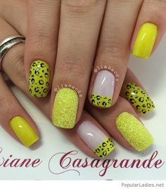 A charming yellow leopard nail art design. The leopard prints look absolutely perfect on the yellow base as well as the French tips and other designs on the nails. Der Leopard, Leopard Nail Art, Yellow Nail Art, Cheetah Nails, Leopard Prints, Nude Nails, Black Nails, White Nails, Cheetah Nail Designs