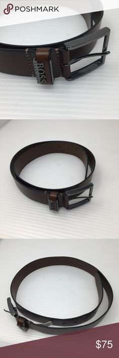 Hugo Boss Brown Leather and Gunmetal Belt Beautiful preowned condition, very light use. Size 34. This belt by Boss is crafted from fine cow skin leather. A square buckle and metal logo at the belt loop finish the style. Hugo Boss Accessories Belts