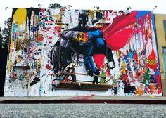 BATMAN vs SUPER MAN by Mr Brainwash in Los Angeles.