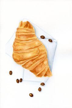 Coffee Croissant ORIGINAL Painting Desset por ForestSpiritArt
