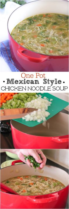 One Pot Mexican Style Chicken Noodle Soup, simple weeknight dinner recipe! #chickendinner #dinner #chicken