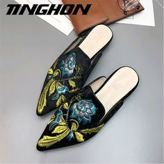 Fashion Embroider shoes Velvet Mules Pointed Toe Slippers Summer Women s  Flat Sandals Casual Women Flat Shoes Ladies Shoes-in Slippers from Shoes on  ... 4bcdd795acad