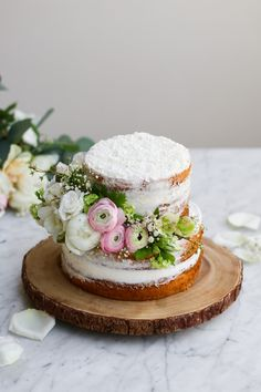Coconut Earl Grey Lavender Cake with White Chocolate Buttercream