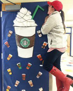 Starbucks teacher bulletin board/door decoration. Classroom Door, Classroom Design, School Classroom, Classroom Themes, Future Classroom, Classroom Organization, Teacher Bulletin Boards, Teacher Doors, Preschool Door
