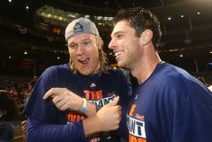 Noah Syndergaard celebrates with Steven Matz after the New York Mets sweep the Chicago Cubs in NLCS game 4 at Wrigley Field. 10/22/15 Chicago, IL (John Munson | NJ Advance Media for NJ.com)