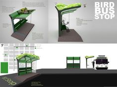 ideiasgreen:Bird Bus Stop via Noe Marcial Ecodesign Urban Furniture, Street Furniture, Green Architecture, Architecture Design, Architecture Student, Bus Stop Design, Parque Linear, Bus Shelters, Bike Shelter
