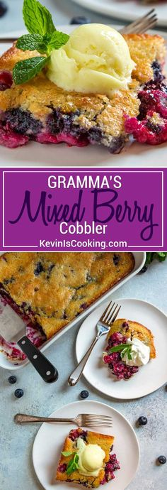 This easy berry cobbler has a buttery batter poured over fresh berries, is baked to a golden brown and is ready for a scoop of ice cream or whipped cream. Mixed Berry Cobbler, Fruit Cobbler, Cobbler Recipe, Raspberry Cobbler, Easy Desserts, Delicious Desserts, Yummy Food, Sweet Desserts, Kitchen Recipes