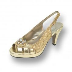 61d0098c173 Shimmery peep-toe platform designed for wide width comfort. Features a  beautiful jeweled bow