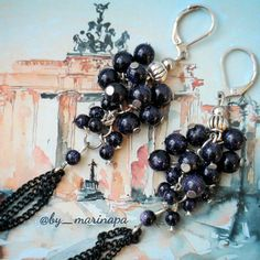 "Handmade earrings ""Blueberry Nights of Berlin"""