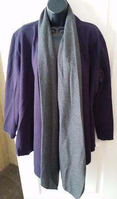 CHICO'S Purple & Gray Cape Shawl Sweater Wrap Poncho Sz 3 XL #Chicos #Cape