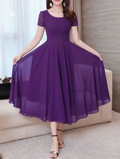 Slim Solid Color Chiffon Short-sleeved Dress is cheap sale on newchic, pick chiffion dresses and show your beauty now. Dress Outfits, Casual Dresses, Fashion Dresses, Short Sleeve Dresses, Dresses With Sleeves, Long Dresses, Purple Long Sleeve Dress, Stylish Dresses, Long Gown Dress