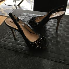 Guess shoes styling sling back Black lace stud heels Guess Shoes Heels