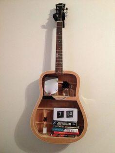 Old guitars transformed into shelves