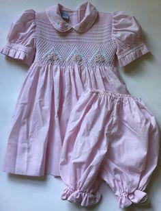 Little Diana Pink Smocked Dress & Bloomers 18 Months Baby Girl Easter Spring #LittleDiana #DressyEverydayHoliday