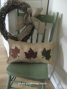 Falling Leaves Pillow --Wool Leaves On burlap