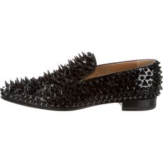Christian Louboutin Dandy Pik Pik Loafers (3.535 BRL) ❤ liked on Polyvore featuring men's fashion, men's shoes, men's loafers, black, mens studded shoes, mens black shoes, mens leather sole shoes, mens studded loafers and mens loafers shoes