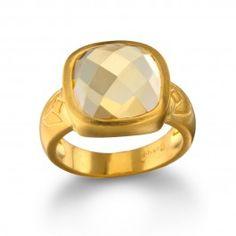 Citrine Square Lotus Ring    Satya Jewelry