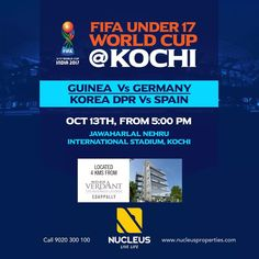 Experience the FIFA World Cup fever - Kochi. Today from 5:00 PM, Guniea vs Germany and Korea DPR vs Spain.  #FIFAUnder17WorldCup #FIFAWorldCup #WorldCupExperience #FIFA #Kochi #KoreaDPRvsSpain #GunieavsGermany #FootballTakesOver  #FIFAU17WC #U17WorldCup  #Kerala #Kochi #India #LuxuryHomes #Architecture #Home  #Elegance #Elegant  #Beautiful #Exquisite #Interior #Design  #Luxury #Life #Trivandrum #Gorgeous #LifeStyle #RealEstate #View #Atmosphere #Apartment