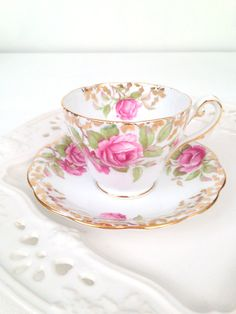 Vintage English Fine Bone China Royal Standard Festival Rose Pattern Teacup and Saucer Tea Party