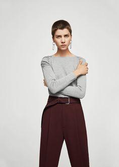 Sweter z bufiastymi ramionami - Kardigany i swetry dla Kobieta | MANGO Polska