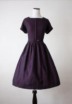 1950's navy bow dress