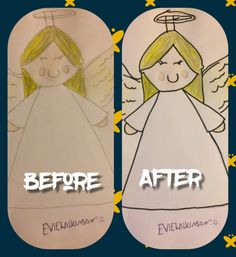 This is a picture of the angel i drew. Before is with out the outline and after is with the outline. OPINIONS PLEASE. Drawn by me!!
