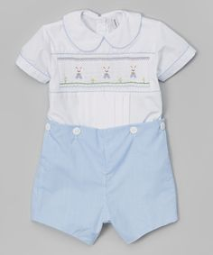 Sweet Dreams White & Blue Smocked Bunny Romper - Infant & Toddler | zulily