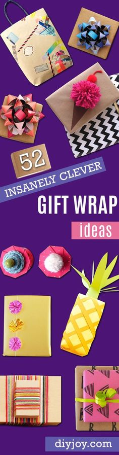 DIY Gift Wrapping Ideas - How To Wrap A Present - Tutorials, Cool Ideas and Instructions | Cute Gift Wrap Ideas for Christmas, Birthdays and Holidays | Tips for Bows and Creative Wrapping Papers | http://diyjoy.com/how-to-wrap-a-gift-wrapping-ideas