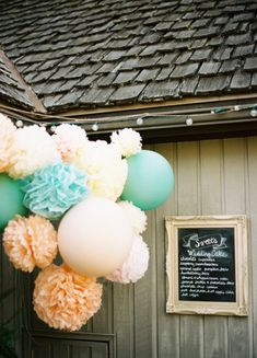 hanging decorations for the bridal showers are totally in now. You can use paper lanterns, star lanterns and paper tissue pom pom.