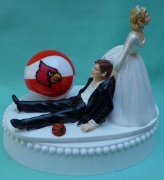 University Louisville Cardinals Basketball Themed Wedding Cake Topper