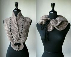 16 Ideas For Crochet Cowl Scarf Awesome Bow Scarf, Lace Scarf, Crochet Cardigan, Crochet Scarves, Crochet Shawl, Irish Crochet, Crochet Clothes, Crochet Lace, Ruffle Scarf