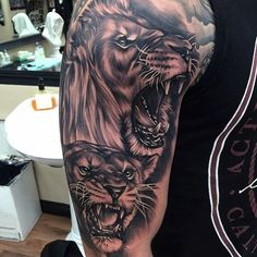 Masculine And Realistic Lion Tattoo