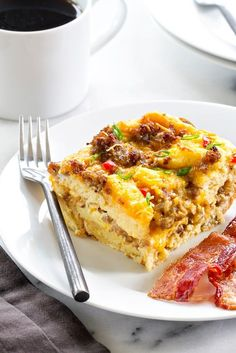 Make-Ahead Breakfast Casserole is loaded with sausage, cheese, bread, and eggs. The perfect holiday breakfast!