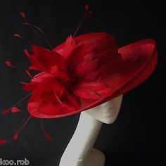 #Burgundy red #sinamay hat for ascot races, #weddings, special occassions,  View more on the LINK: http://www.zeppy.io/product/gb/2/181947934001/