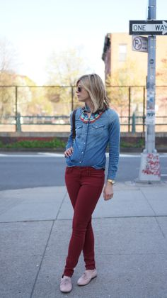A Gap chambray shirt as featured on the blog Step Brightly.