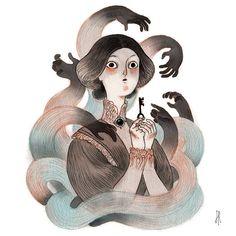 J'ai fait cette illustration pour l'invite Inktober 2017 « United ». Je me suis inspiré par le conte de barbe-bleue. « Mais peu importe combien elle a frotté, la clé est restée ternie. » Ah, » murmura une voix à son oreille, « maintenant, vous êtes l'un dentre nous ». Cette impression Drawing Challenge, Disney Characters, Fictional Characters, Dungeons And Dragons, Snow White, Gothic, Fantasy, Disney Princess, Drawings