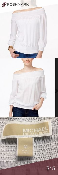 Michael Kors peasant blouse Michael Kors, Sz medium, white peasant blouse, wear on or off shoulder, elastic neckline, waist and cuffs. Perfect all occasions top. Michael Kors Tops Blouses