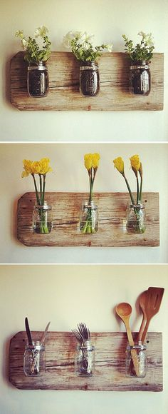 Functional ways to up-cycle jars.  Would work for paint brushes, pencils and pens as well.  Use your imagination!