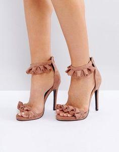 c0f76f9830d Public Desire Pink Ruffle Heeled Sandals at asos.com